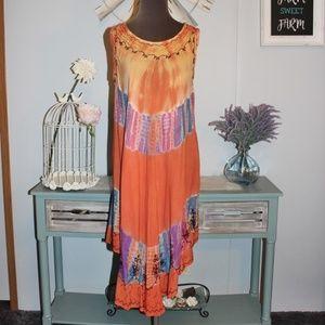 Dresses & Skirts - Orange Multi Color Sleeveless Dress One Size